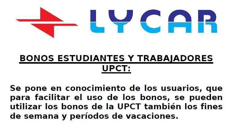 El Bono UPCT De Los Autobuses Lycar Ya Se Puede Usar En Fin De Semana Y Periodo De Exámenes