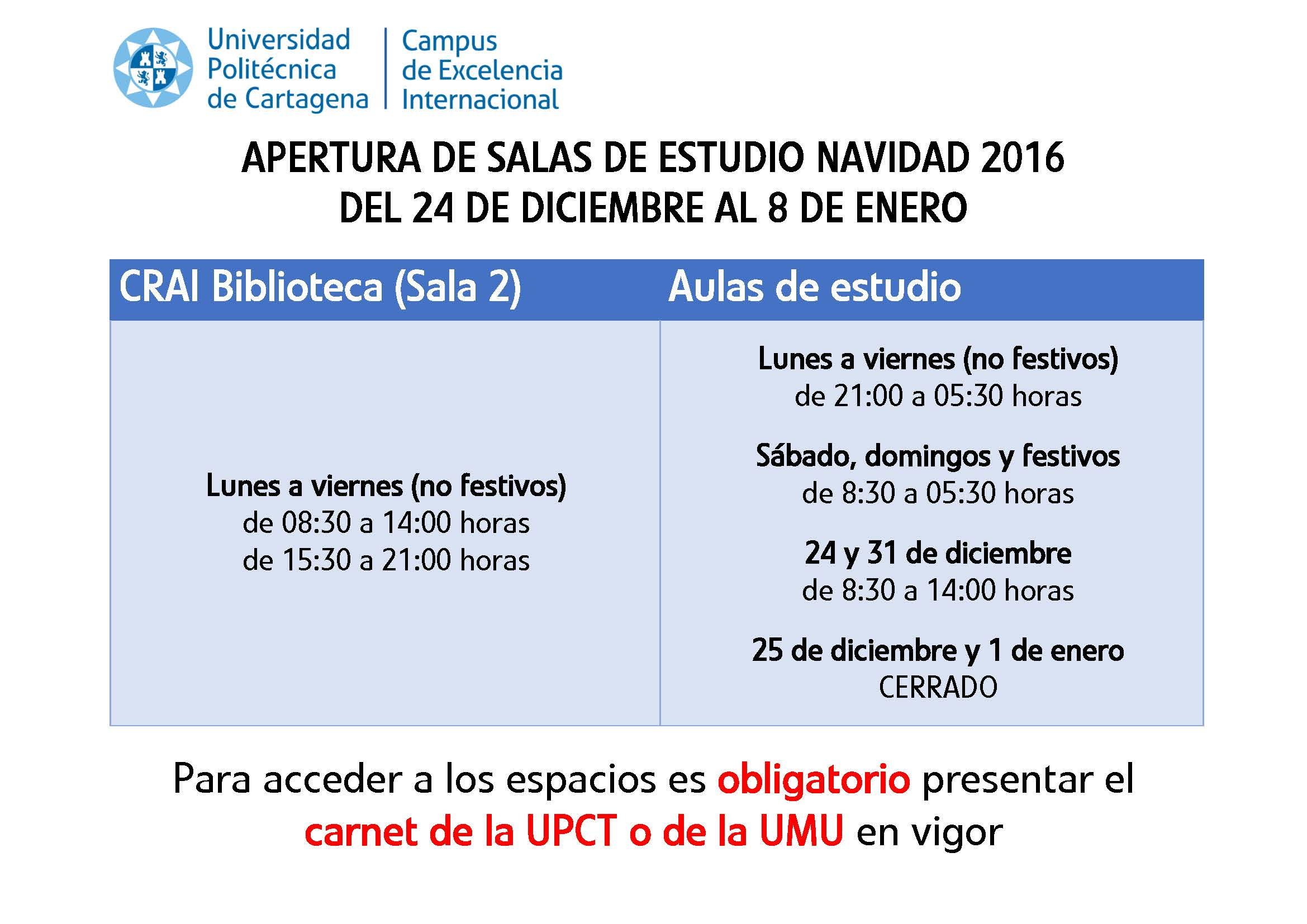 Calendario Salas De Estudio Navidad 2016