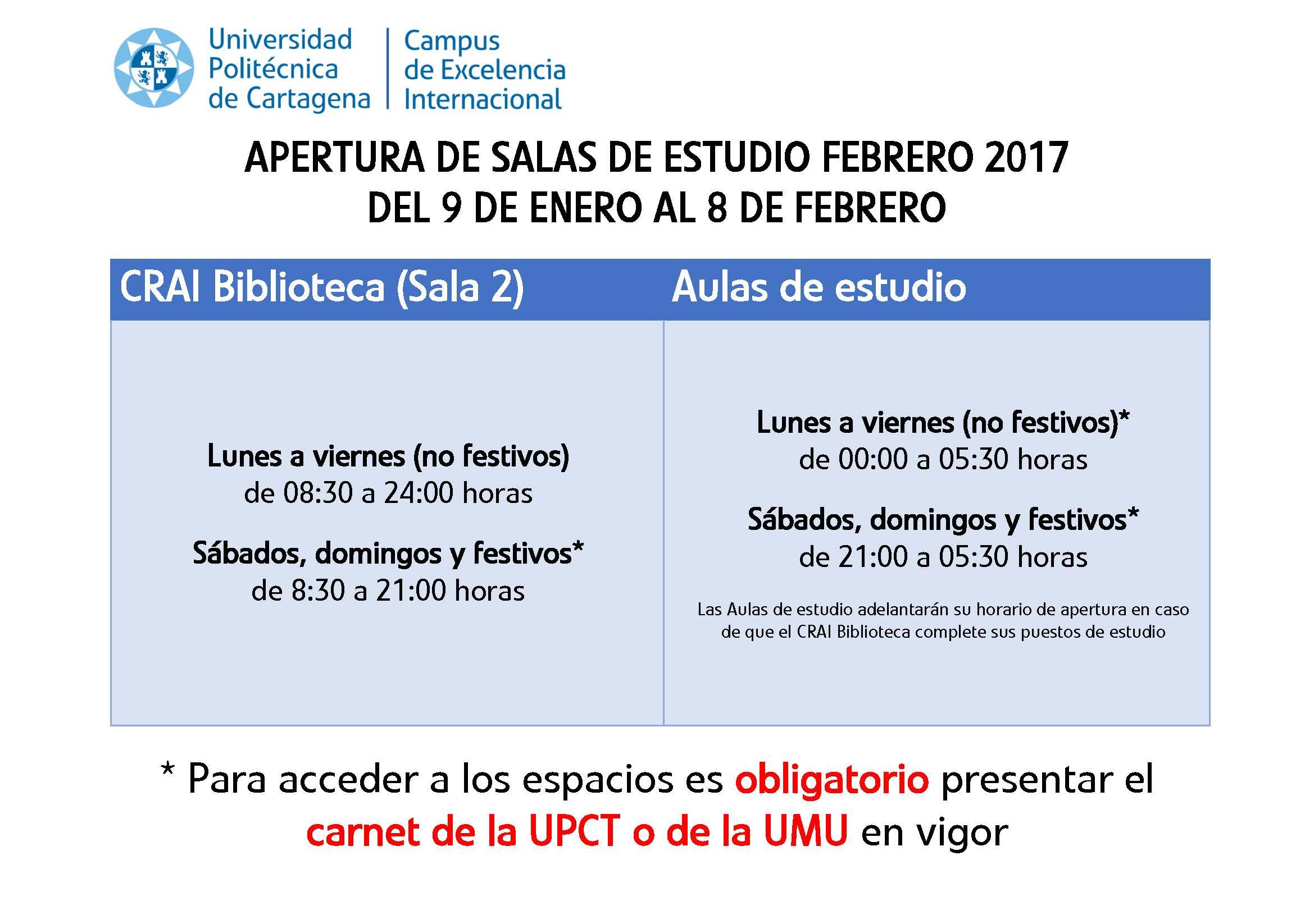 Calendario Salas Estudio Febrero 2017