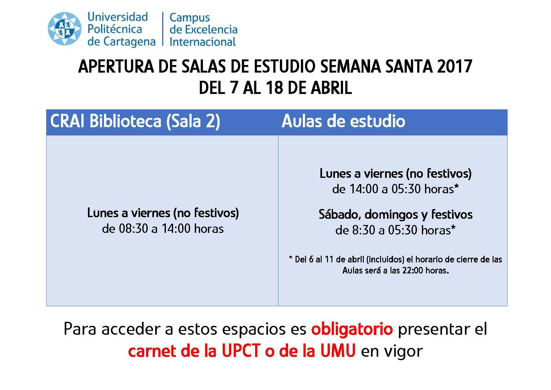 Apertura Del CRAI Biblioteca Y Aulas De Estudio – Semana Santa 2017