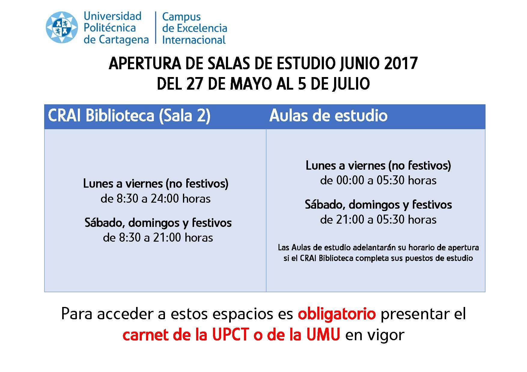 Horarios Y Salas De Estudio Para La Convocatoria De Junio 2017
